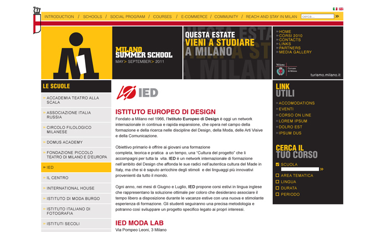 Milano Summer School internal page